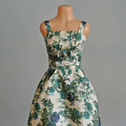 Blue/Green Flowered Taffeta Cocktail/Prom Dress