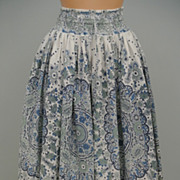 Blue Green And White Patterned Cotton Skirt