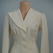 A Gorgeous Winter White Polyester Pant Suit