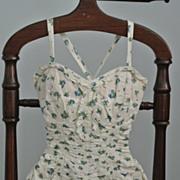 "A Cotton 1950's One-Piece Flowered SwimSuit   ""Jantzen"""