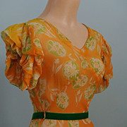 Orange Printed Sheer Chiffon 1930's Lawn Dress