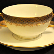 A&D Limoges Two-Handled Gold Soup or Bouillion Cup/Bowl and Saucer