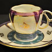 Rare 1920s Art Deco Schoenau  Lusterware Demitasse Cup and Saucer