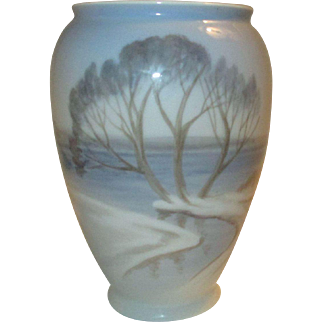 Vase, Denmark, Bing and Grondahl, Snow, Trees, Sea  1958-1962, Mid-Century Scandinavian Design