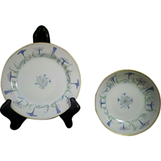 Haviland Limoges Morning Glory Bowl & Plate Factory Decorated