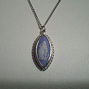 Wedgwood Necklace, Blue White Jasper Cameo, Marked, Sterling Silver, Hope and Anchor