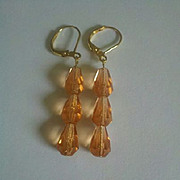 Peach Faceted Czech Crystal Earrings -- Vintage 1930s-50s Crystals