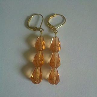Peach Champagne Czech Earrings Artisan