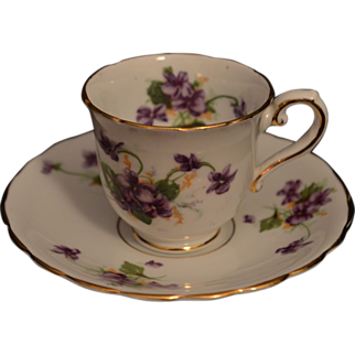 Bone China Cup & Saucer, Violets, Doll or Demitasse Size, England