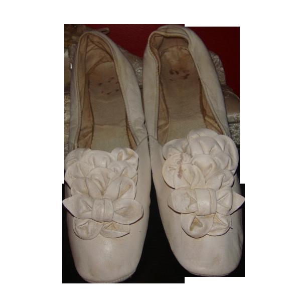 Victorian Wedding Slipper Shoes Antique 1800s