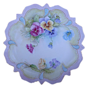 Antique Signed Hand Painted Cabinet Plate Pansies