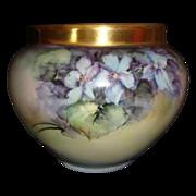 Limoges Jardiniere Planter Hand Painted Violets