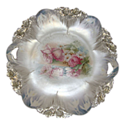 Antique RS Prussia Cake Plate Reflecting Poppies Icicle Mold