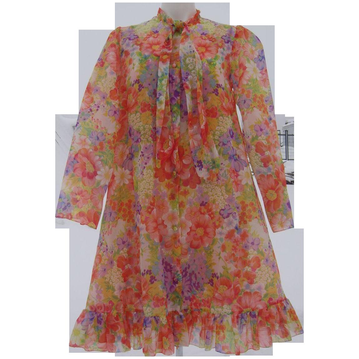 Vintage Linda Lingerie Nightgown Peignoir Robe Set 1970's