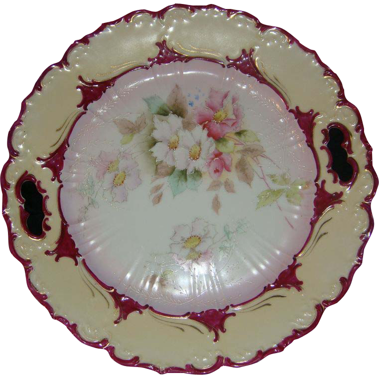 Antique RS Prussia Cake Plate Early Raised Enamel Mold OM38 Decor OT5
