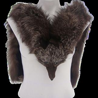 Crystal Fox Fur Stole Vintage