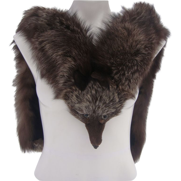 Crystal Fox Fur Stole Vintage