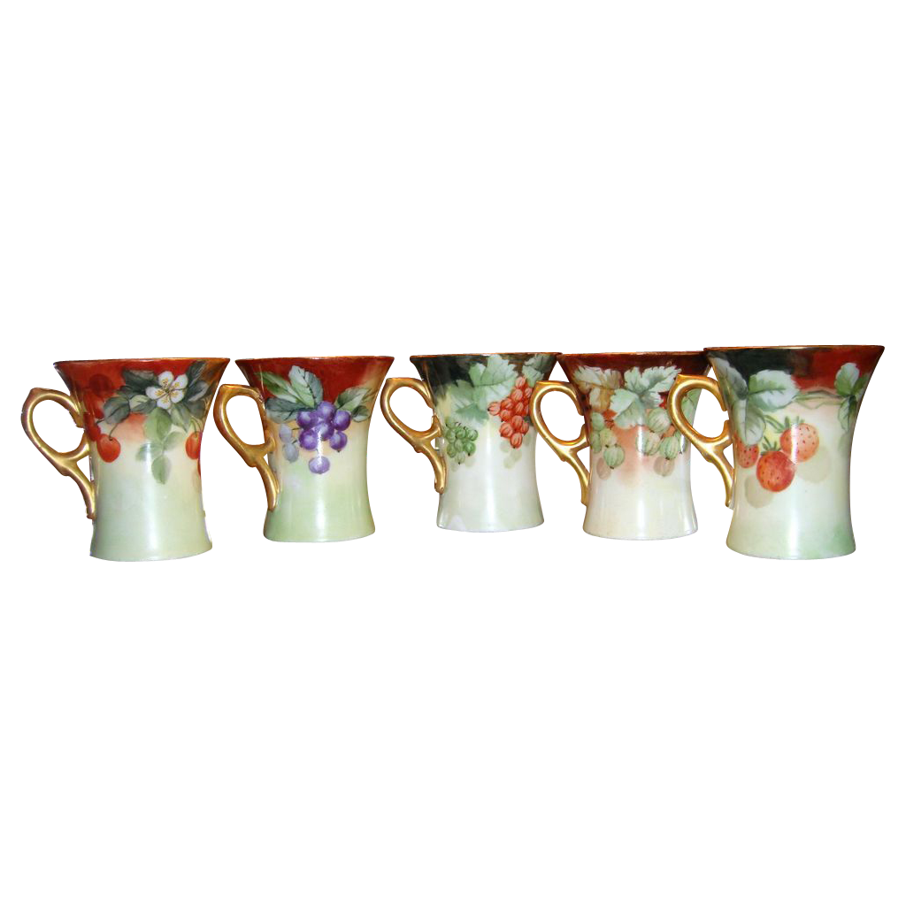 Antique Bavarian Cup Set Hand Painted Berries