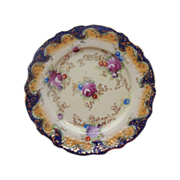 Antique Royal Nippon Cobalt Plate Roses Asters Gold
