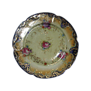 Royal Nippon Cobalt Plate Pre 1891 Roses Asters Lavish Gold