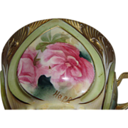 Scarce RS Prussia Teacup Signed Happ Hand Painted Roses