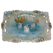 RS Prussia Swans On Lake Icicle Mold Tray