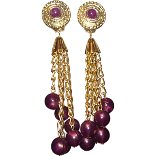 Shoulder Duster Earrings Cranberry Bead