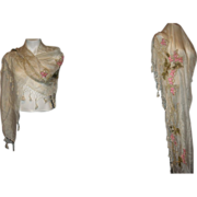 Antique Silk Shawl Embroidered with Fringe