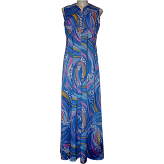 Vintage 1970's Maxi Dress Blue Floral Watercolor