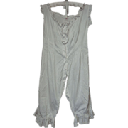 Antique Victorian  Bloomers Onesie Split Crotch Ruffle Trimmed