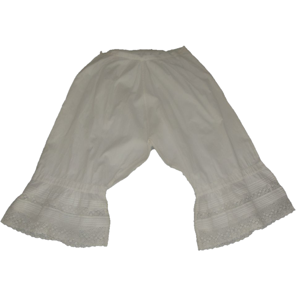Antique Victorian Bloomers Dripping with Lace and Tiny Pleats