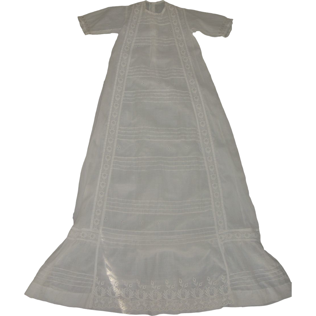Long Antique Christening Gown Lace Pleats Mother of Pearl Buttons