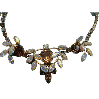 Vintage Necklace Signed Sherman  Brown and Aurora Borealis 1950
