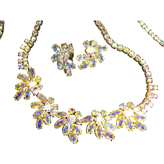 Signed Sherman Necklace and Earrings Set 1950