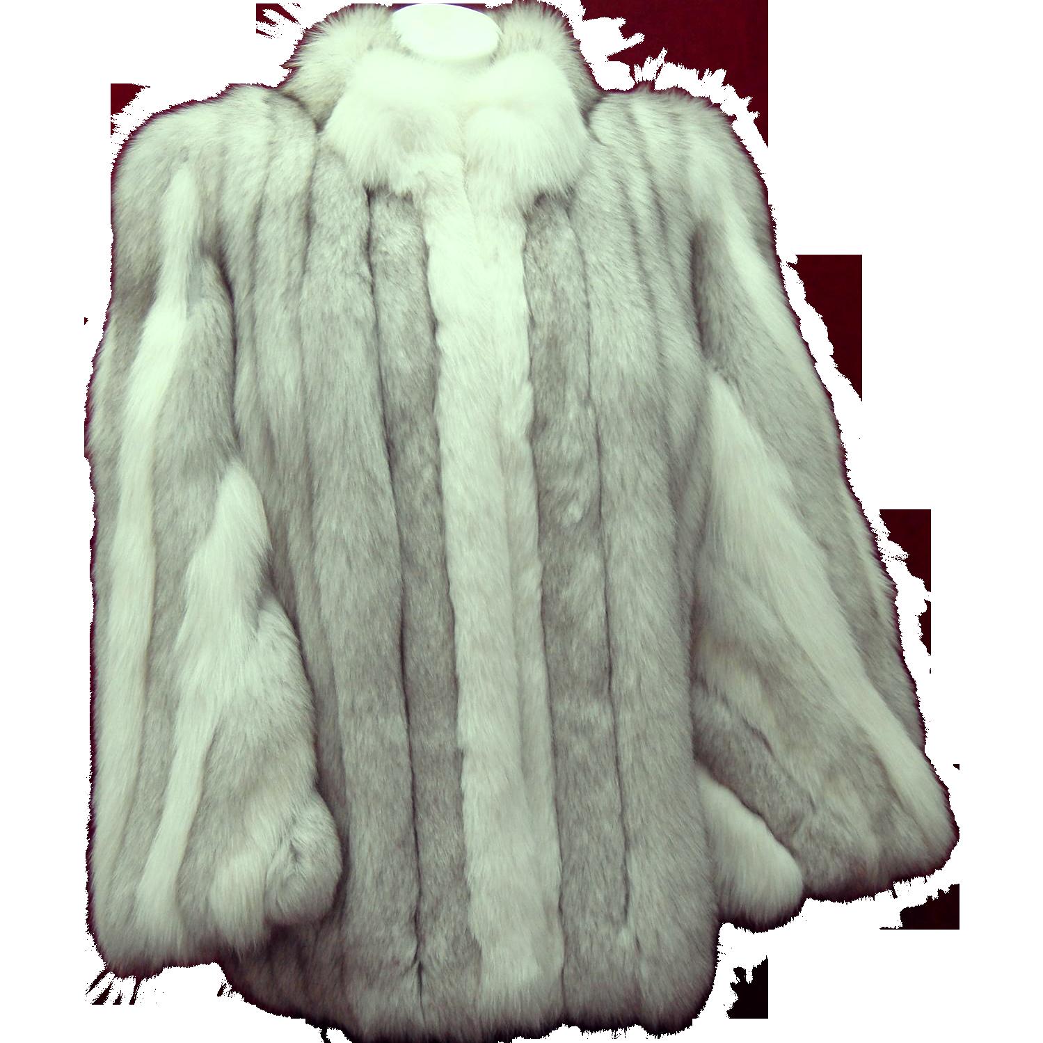 Vintage Blue Arctic Fox Fur Stroller Coat