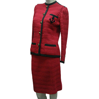 Vintage Red Chanel Cardigan Suit Couture 1970s