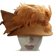 Italian Clouche Hat Feathers Wool