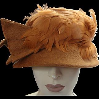 Italian Clouche Hat Feathers Wool