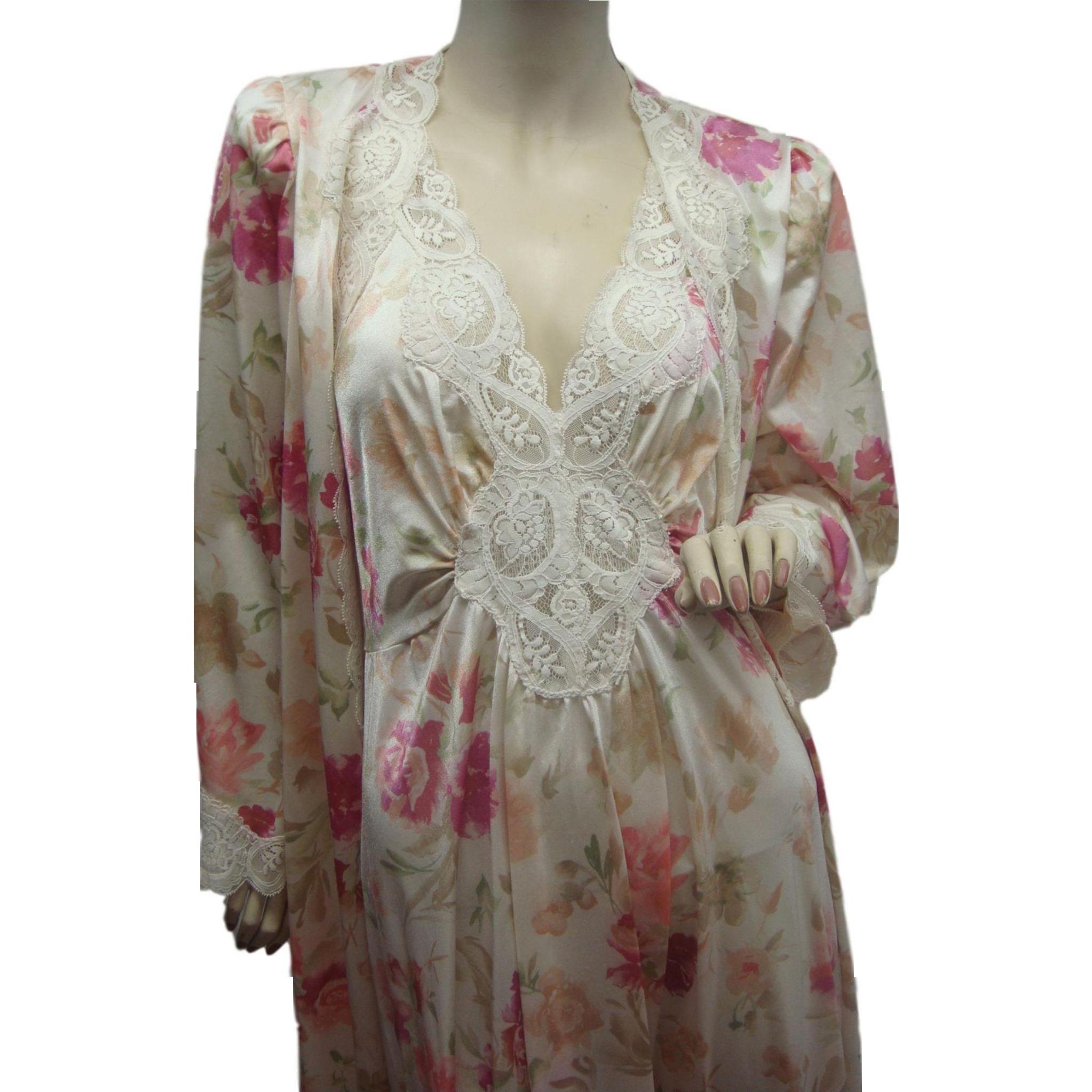 Large Olga Nightgown Peignoir Robe Set Rare Color Pattern Massive 15 Foot Sweep
