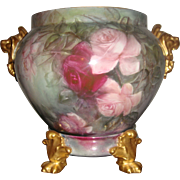 Museum Quality Antique Limoges Footed Jardiniere Roses Lion Head Handles