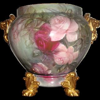 Antique Limoges Jardiniere Lions Head Roses Plinth