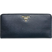 Prada Saffiano Leather Wallet Navy Blue