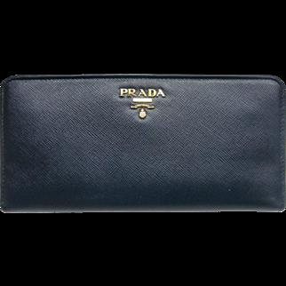 Prada Saffiano Leather Wallet Navy Blue