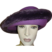 Vintage Hat Purple Felt with Faux Fur Trim