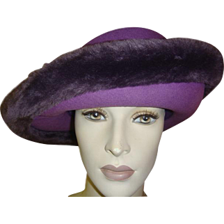 Vintage Hat Purple Felt with Faux Fur Trim