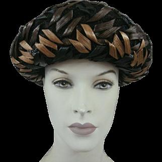 Black Hat Raffia Netting Bow Vintage
