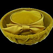 Vintage Hat Velvet Golden Honey