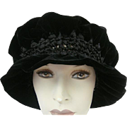 Victorian Hat Black Velvet Hand Made Silk Velvet