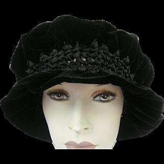 Victorian Hat Black Velvet Hand Made Silk Velvet
