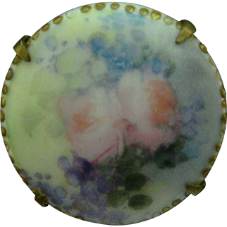 Limoges Brooch Antique Hand Painted Roses